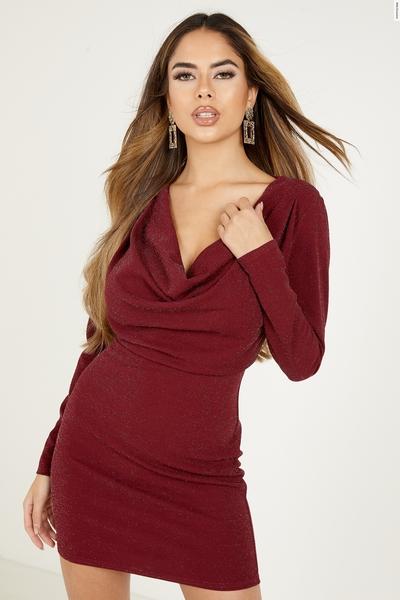 Berry Glitter Cowl Neck Bodycon Dress